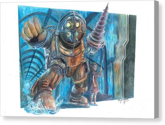 Bioshock Canvas Print - Bioshock - Big Daddy And Little Sister by Serafin Ureno