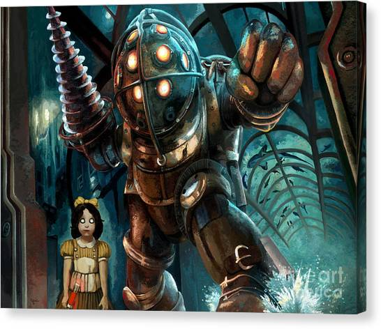 Bioshock Canvas Print - Bioshock Big Daddy And Little Sister Swimming With The Sharks by Jackie Case