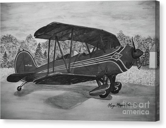 Canvas Print - Biplane In Black And White by Megan Cohen