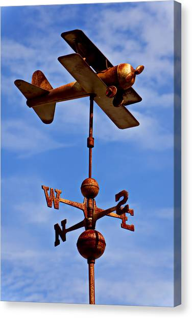 Biplane Canvas Print - Biplane Weather Vane by Garry Gay