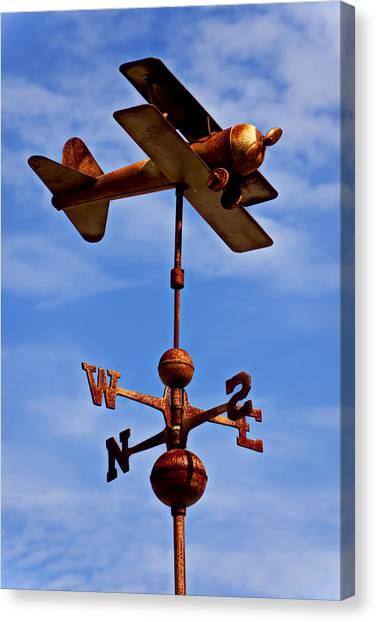 Wind Instruments Canvas Print - Biplane Weather Vane by Garry Gay