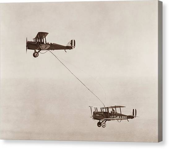 Biplane Canvas Print - Biplanes Air Refueling - Army Air Service - 1923 by War Is Hell Store