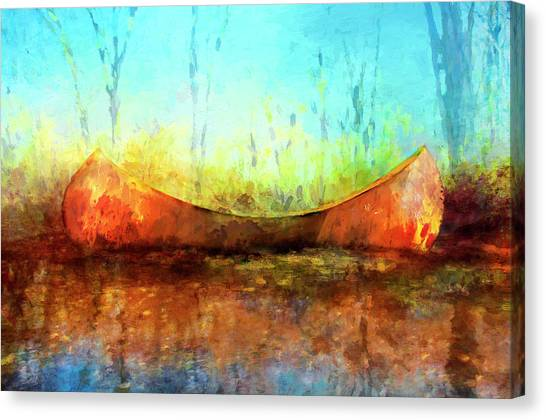 Birch Bark Canoe Canvas Print