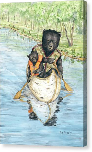 Birch Bark Canoe Canvas Print