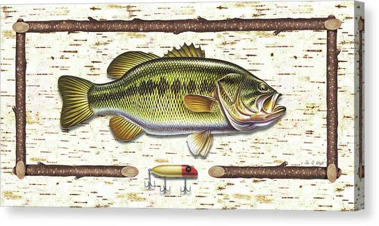 Smallmouth Bass Canvas Print - Birch Bass by JQ Licensing