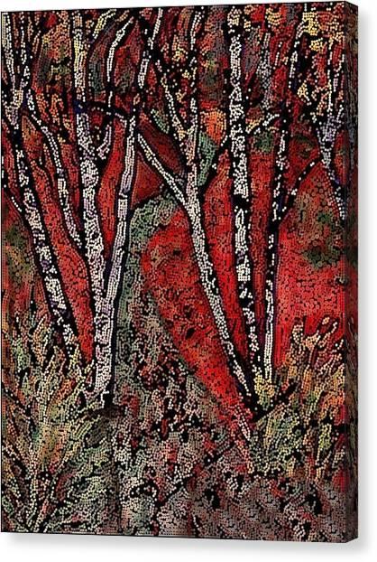 Birch Tree Mosaic Canvas Print
