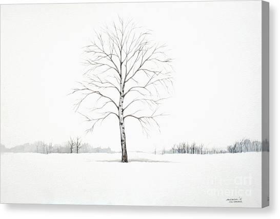 Birch Tree Upon The Winter Plain Canvas Print