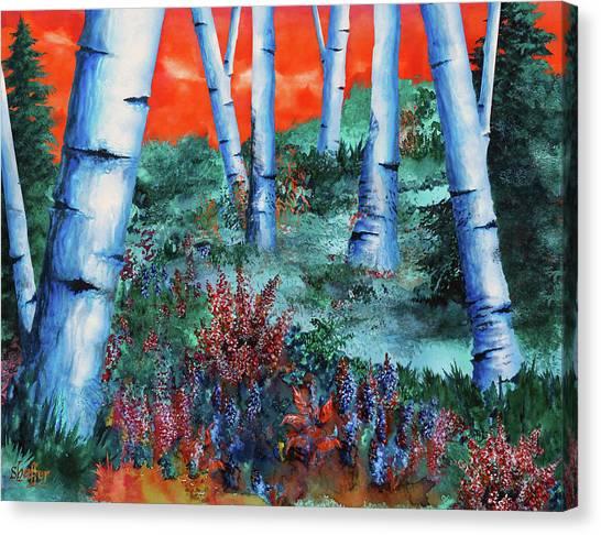 Birch Trees At Sunset Canvas Print
