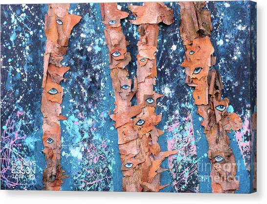 Creepy Canvas Print - Birch Trees With Eyes by Genevieve Esson