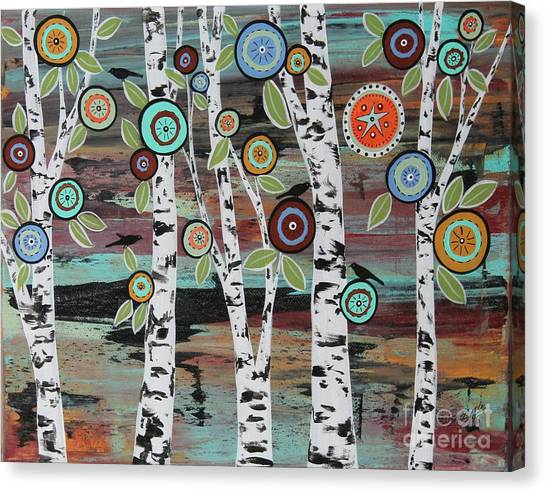Blackbirds Canvas Print - Birch Woods by Karla Gerard