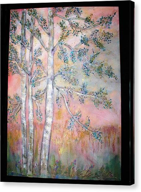 Birch Woods Sold Canvas Print by Laurie Alpert