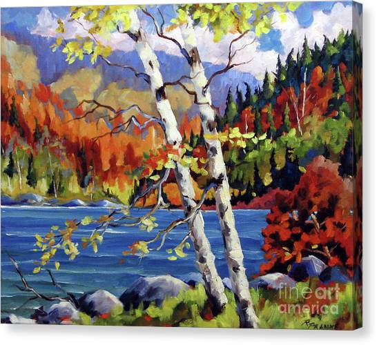 Poppys Canvas Print - Birches By The Lake by Richard T Pranke