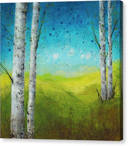 Birches In Green Canvas Print