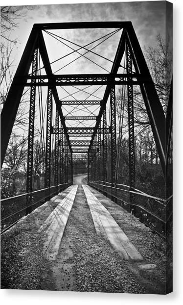 Bird Bridge Black And White Canvas Print