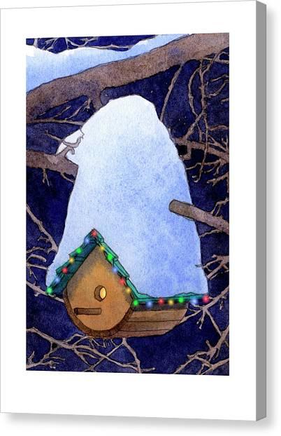 Bird House Christmas Canvas Print