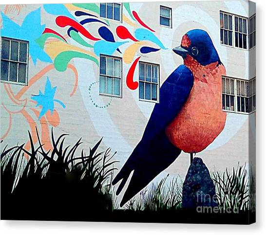 San Francisco Blue Bird Painting Mural In California Canvas Print