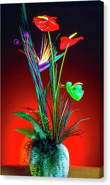Vase Of Flowers Canvas Print - Bird Of Paradise And Anthuriums In Vase by Garry Gay