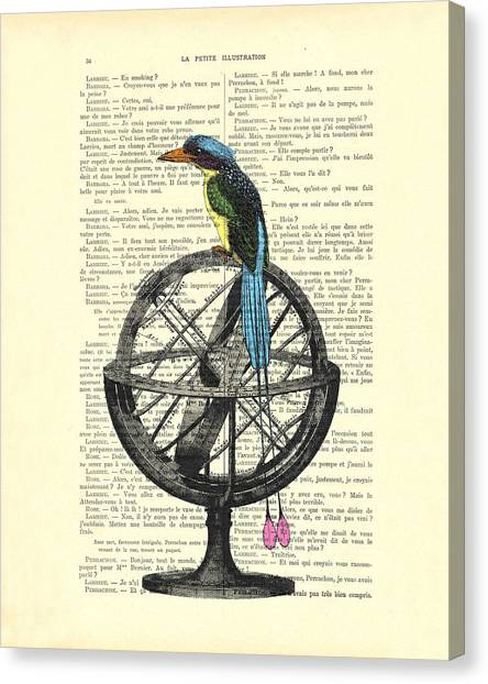 Old World Canvas Print - Colorful Bird Of Paradise Sitting On Globe by Madame Memento