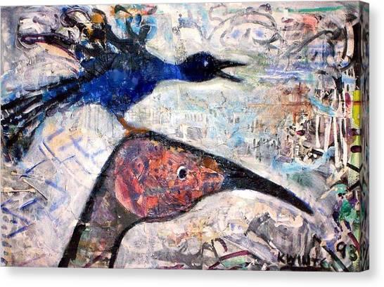 Bird On Bird Canvas Print by Dave Kwinter