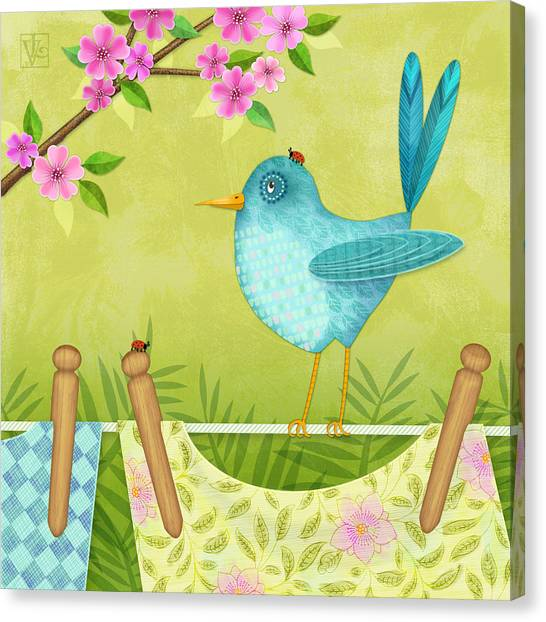 Bird On Clothesline Canvas Print