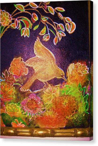 Bird On Flowers On A  Glorious Night Canvas Print by Anne-Elizabeth Whiteway