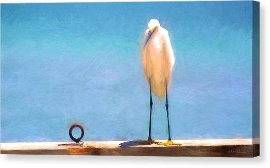 Bird On The Rail Canvas Print