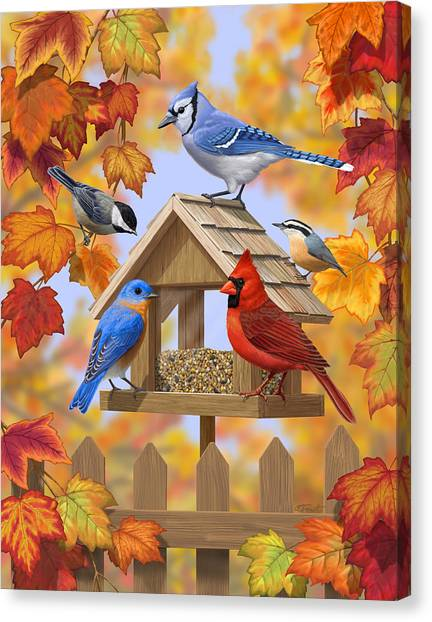 Chickadee Canvas Print - Bird Painting - Autumn Aquaintances by Crista Forest