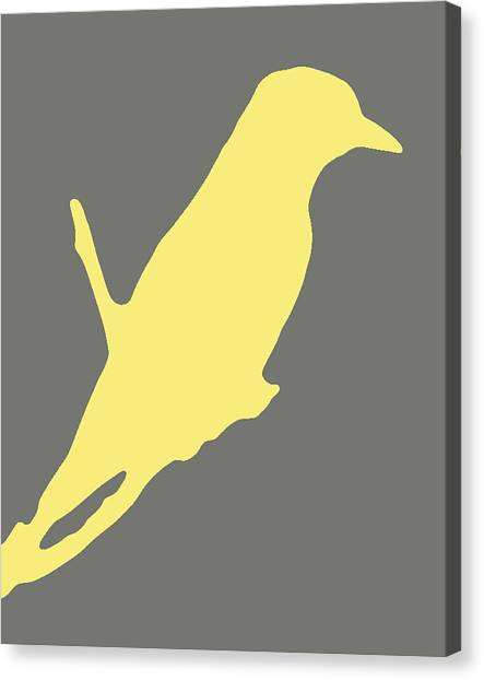 Bird Silhouette Gray Yellow Canvas Print