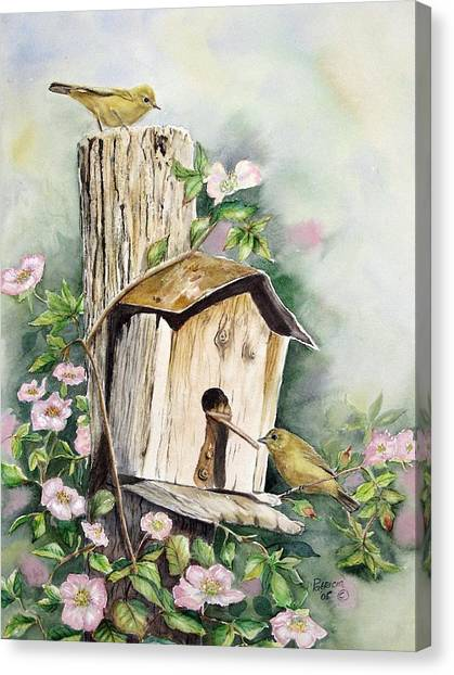 Warblers Canvas Print - Birdhouse Buddies by Patricia Pushaw