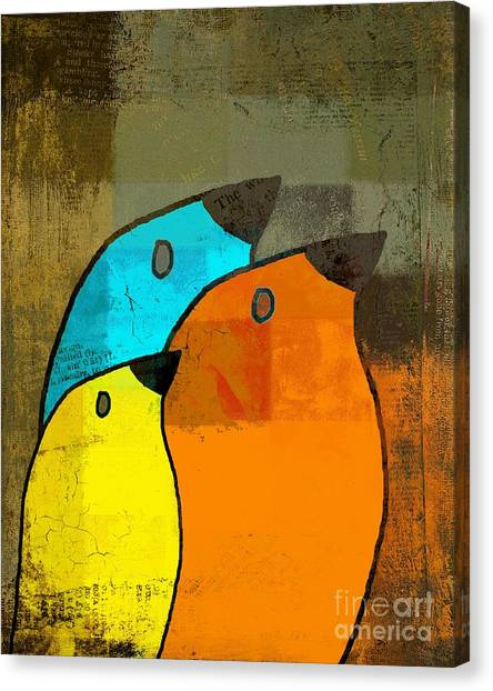 Orange Canvas Print - Birdies - C02tj1265c2 by Variance Collections