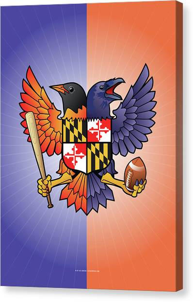 Birdland Baltimore Raven And Oriole Maryland Crest Canvas Print