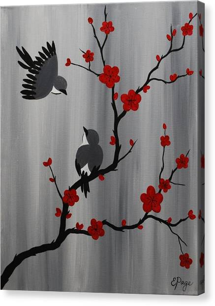 Birds And Blooms In Red Canvas Print