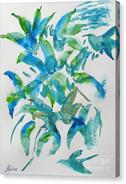 Birds And Blooms Canvas Print