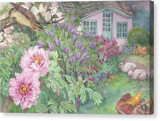 Canvas Print featuring the painting Birds And Bunnies In Cottage Garden by Judith Cheng