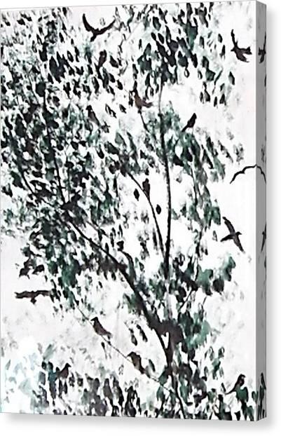 Birds At Sundown I Canvas Print by Caroline  Urbania Naeem