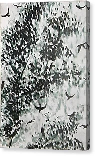 Birds At Sundown II Canvas Print by Caroline  Urbania Naeem