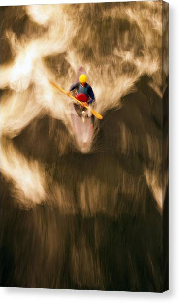 Kayaks Canvas Print - Birds-eye View Of Kayaker by Panoramic Images