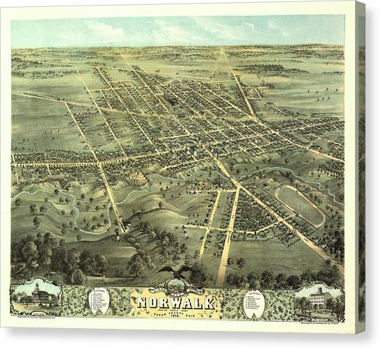 Norwalk Canvas Print - Bird's Eye View Of Norwalk, Huron County, Ohio 1870 by Ruger