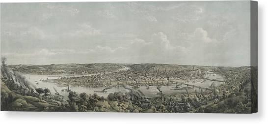 Sidewheelers Canvas Print - Birds-eye View Of Pittsburgh by Everett