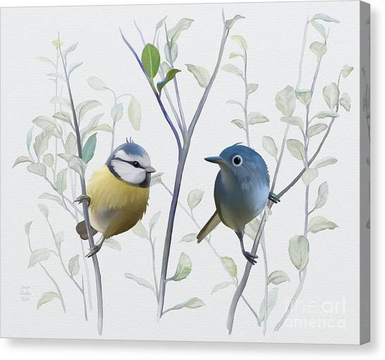 Canvas Print featuring the painting Birds In Tree by Ivana