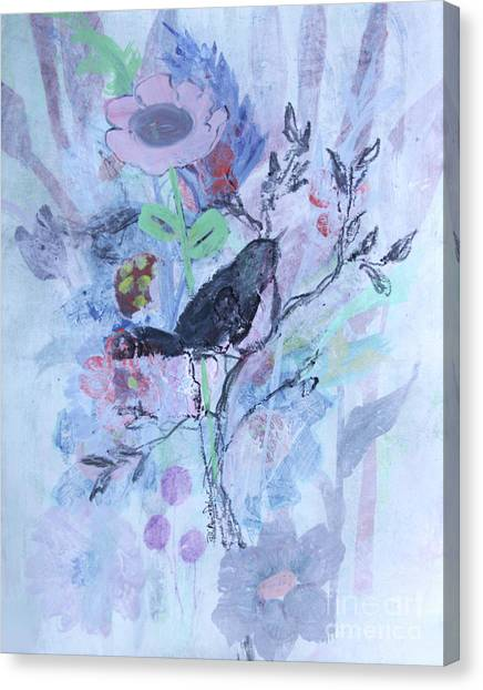 Canvas Print featuring the painting Birds Just Wanna Have Fun by Robin Maria Pedrero