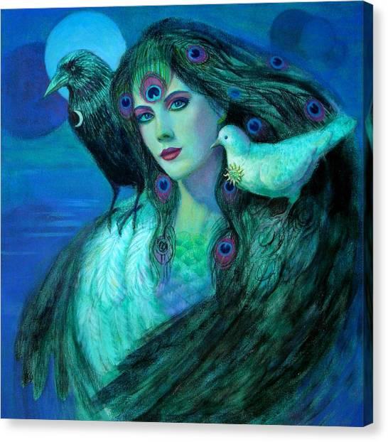 Birds Of Duality Fantasy Art Canvas Print