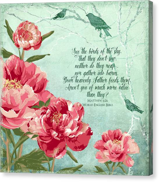 Bible Verses Canvas Print - Birds Of The Sky - Inspirational by Audrey Jeanne Roberts