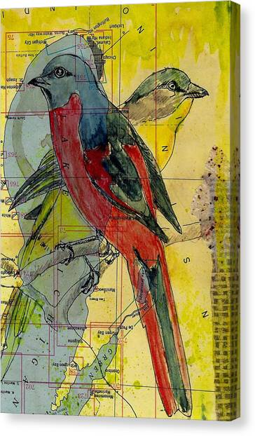 Birds On A Map Canvas Print