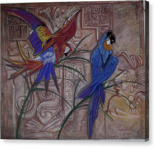 Birds On A Mayan Wall Canvas Print