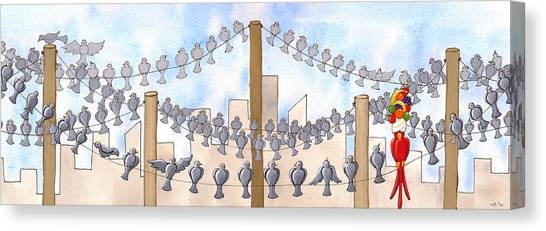 Pigeons Canvas Print - Birds On A Wire by Christy Beckwith
