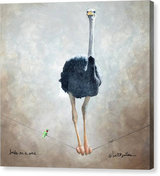 Ostriches Canvas Print - Birds On A Wire... by Will Bullas