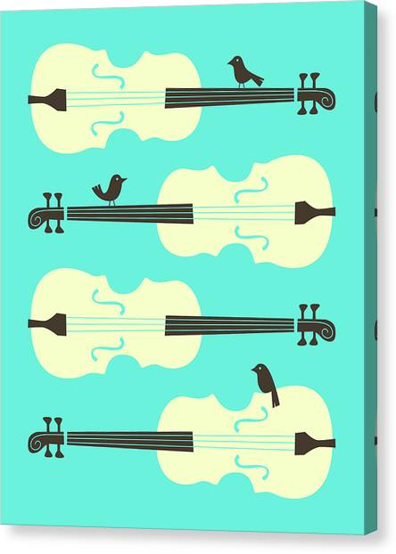 Cellos Canvas Print - Birds On Cello Strings 1 by Jazzberry Blue