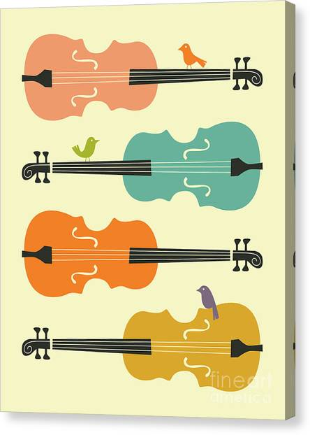 Cellos Canvas Print - Birds On Cello Strings 1.0 by Jazzberry Blue