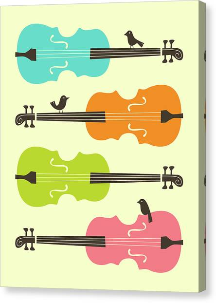 Cellos Canvas Print - Birds On Cello Strings 2 by Jazzberry Blue